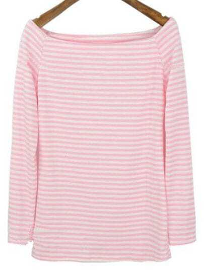 Pink White Striped Boat Neck Long Sleeve T-Shirt