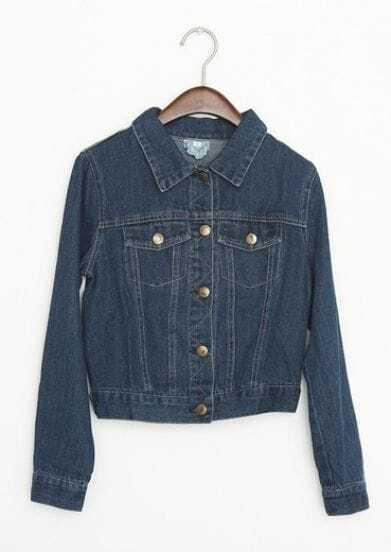 Dark Blue Lapel Long Sleeve Buttons Crop Denim Coat