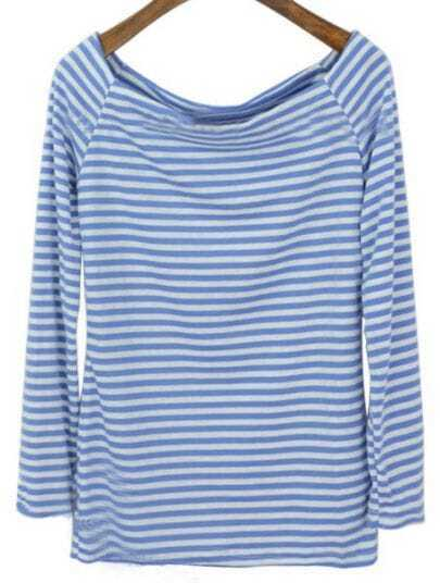 Blue White Striped Boat Neck Long Sleeve T-Shirt