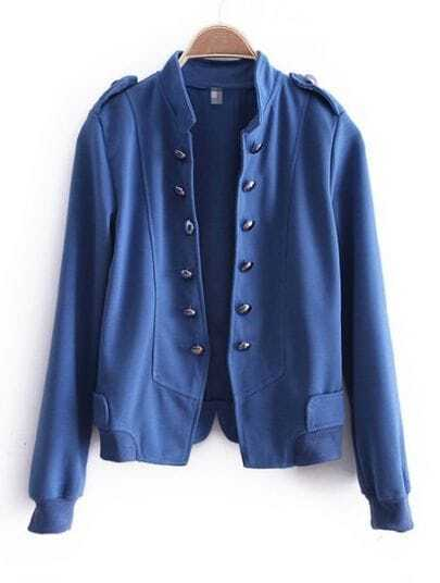 Blue High Neck Double Breasted Cotton Coat