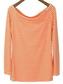 Orange White Striped Boat Neck Long Sleeve T-Shirt