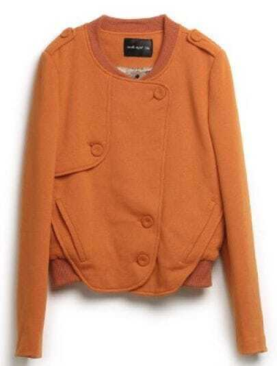 Orange Vintage Long Sleeve Buttons Cotton Jacket