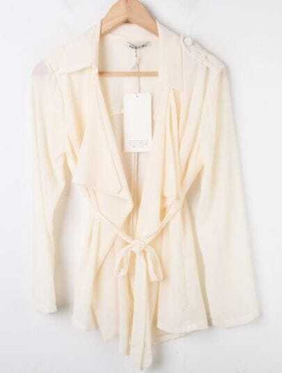 Apricot Lapel Long Sleeve Drawstring Waist Coat