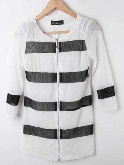 White Round Neck Long Sleeve Striped Zipper Coat