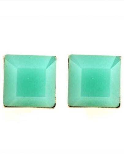 Green Square Gemstone Stud Earrings