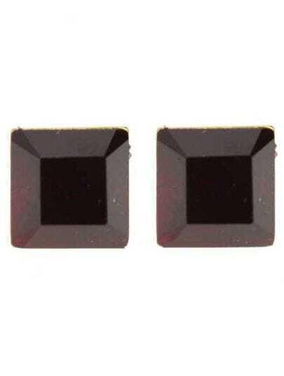 Dark Red Square Gemstone Stud Earrings
