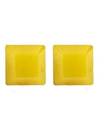 Yellow Square Gemstone Stud Earrings