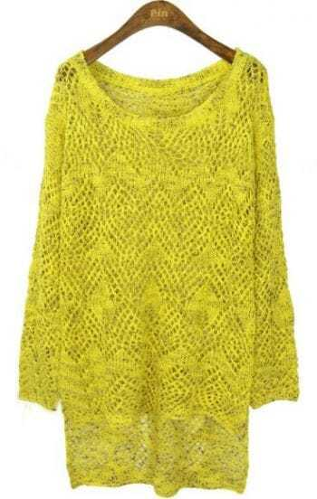 Yellow Long Sleeve Eyelet Dipped Hem Jumper Sweater