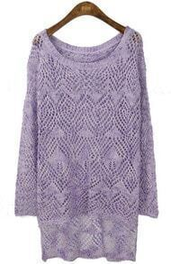Violet Long Sleeve Eyelet Dipped Hem Jumper Sweater