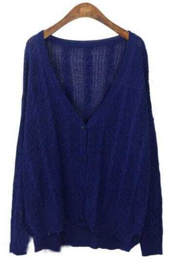 Navy Long Sleeve V-neck Cable Eyelet Cardigan Sweater