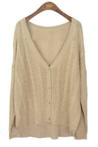 Khaki Long Sleeve V-neck Cable Eyelet Cardigan Sweater