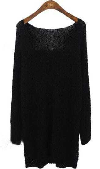 Black Long Sleeve V-neck Split Side Jumper Sweater