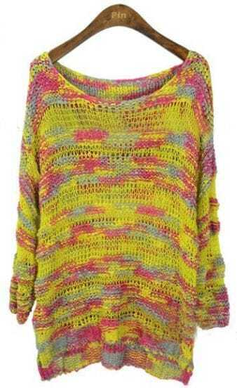 Yellow Scoop Neck Space Dye Dipped Hem Jumper Sweater