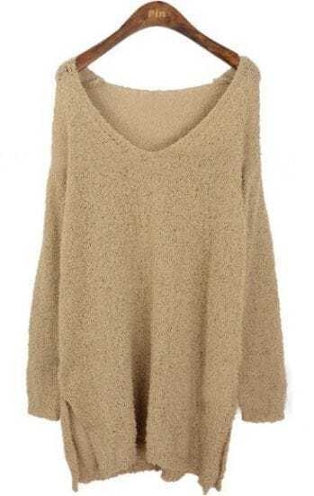 Khaki Long Sleeve V-neck Split Side Jumper Sweater