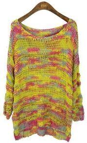Yellow Scoop Neck Space Dye Dipped Hem Jumper Sweater