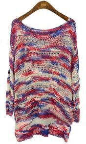 Pink Blue Scoop Neck Space Dye Dipped Hem Jumper Sweater