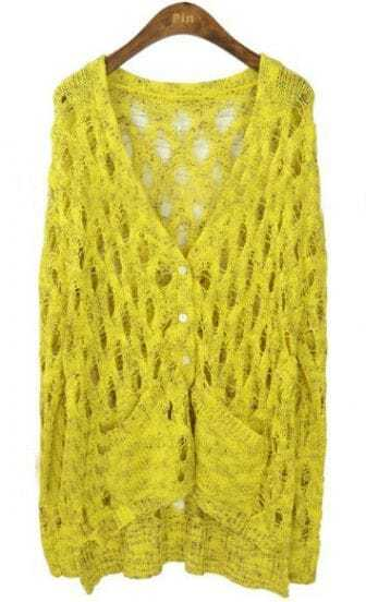 Yellow Long Sleeve Hollow Out Pockets Cardigan Sweater