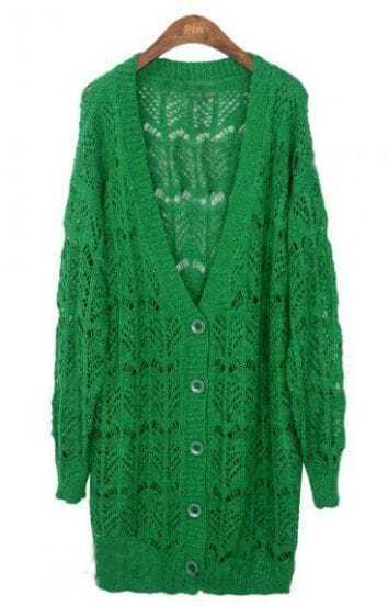 Green V-neck Ribbed Trim Eyelet Long Cardigan Sweater