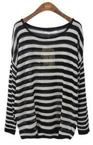 Black White Striped Drop Shoulder Batwing Sleeve Jumper