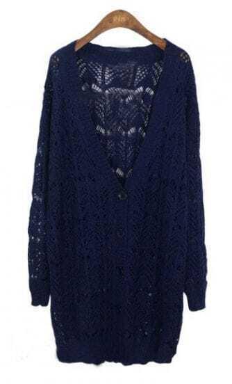 Navy V-neck Ribbed Trim Eyelet Long Cardigan Sweater