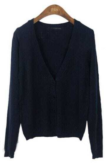 Navy Long Sleeve V-neck Crop Knitted Cardigan