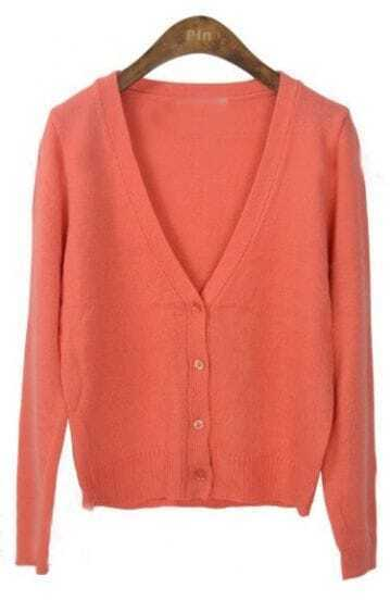 Coral Long Sleeve V-neck Crop Knitted Cardigan