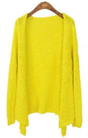 Yellow Long Sleeve Collarless Eyelet Open Knitted Cardigan