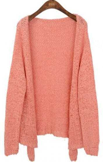 Pink Long Sleeve Collarless Eyelet Open Knitted Cardigan