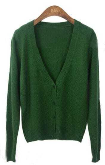 Dark Green Long Sleeve V-neck Crop Knitted Cardigan