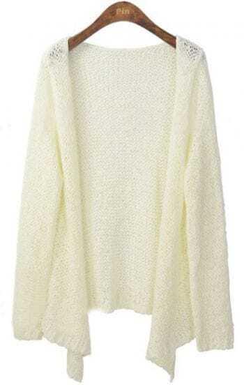 White Long Sleeve Collarless Eyelet Open Knitted Cardigan