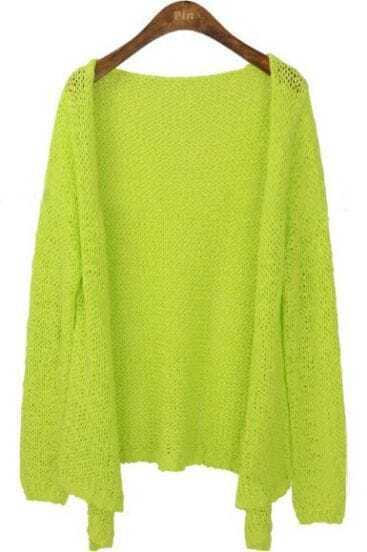 Neon Green Long Sleeve Collarless Eyelet Open Knitted Cardigan