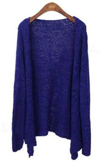 Royal Blue Long Sleeve Collarless Eyelet Open Knitted Cardigan