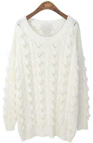 White Long Sleeve Eyelet 3D Flowers Emebellished Jumper Sweater