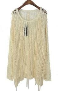 Beige Long Sleeve Chiffon Fringed Bandage Open Stitch Sweater