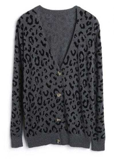 Black Spot V-neck Long Sleeve Grey Knitted Cardigan