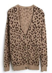Burgundy Spot V-neck Long Sleeve Camel Knitted Cardigan