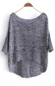 Grey Three Quarter Length Sleeve Dipped Hem Jumper Sweater