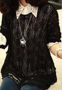Black Long Sleeve Eyelet Lace Hem Sheer Jumper Sweater