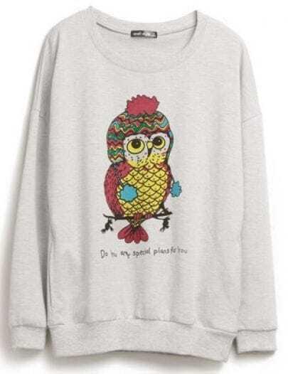 Light Grey Owl Print Long Sleeve Sweatshirt