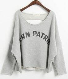 Grey Batwing Sleeve TDWN PATROL Print Ripped Back Sweatshirt
