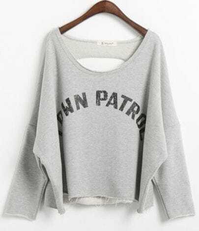 Grey Batwing Sleeve TDWN PATROL Print Ripped Back Sweatshirt