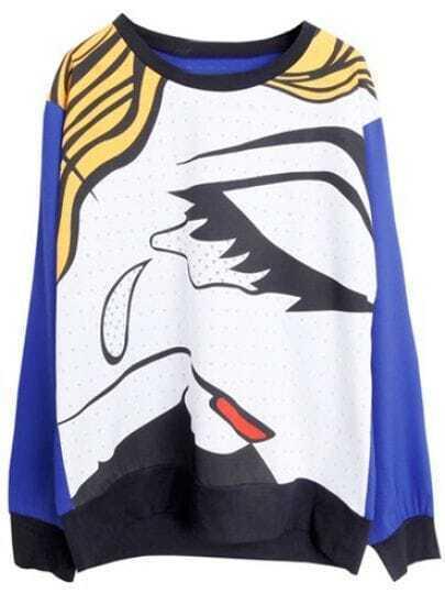 Royal Blue Long Sleeve Abstract Pattern Loose Sweatshirt