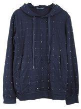 Navy Long Sleeve Suqare Beading Embellished Drawstring Hoodie Sweatshirt