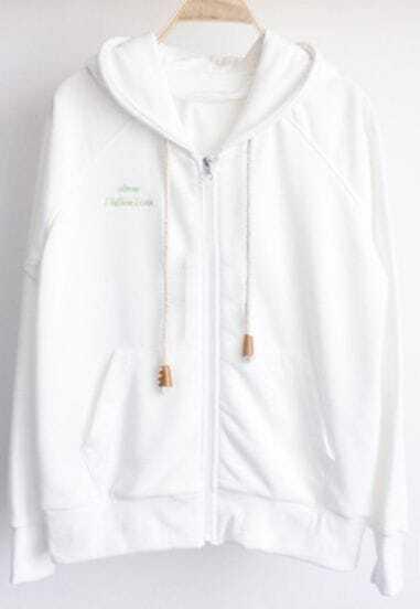 White Drawstring Hoodie Pockets Zipper Placket Sweatshirt