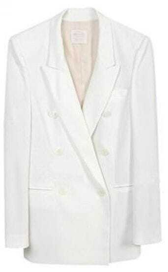White Double Breasted One Button Boyfriend Blazer