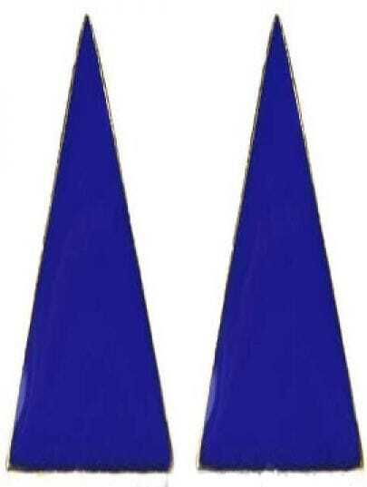 Royal Blue Enamel Triangle Studded Earring
