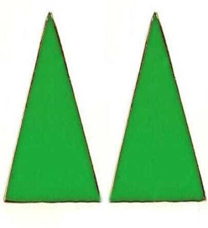 Green Enamel Triangle Studded Earring