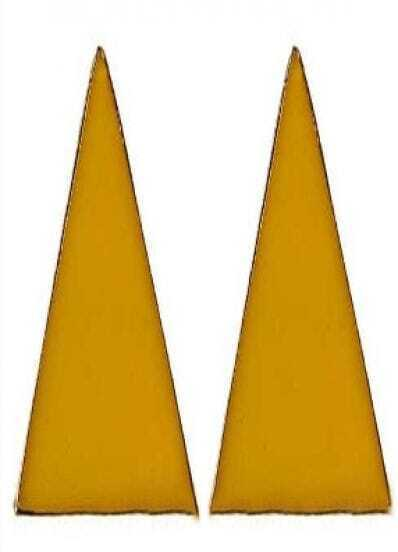 Yellow Enamel Triangle Studded Earring