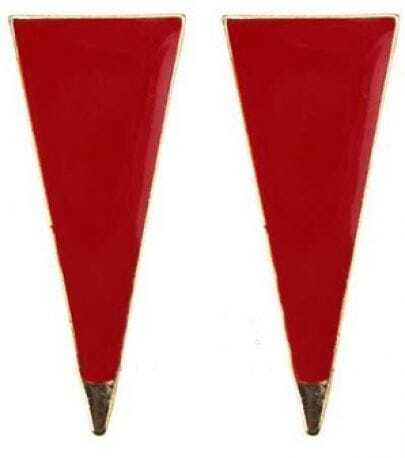 Red Enamel Triangle Metal Point Studded Earring