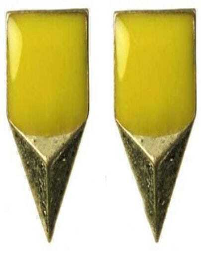 Yellow Enamel Square Stereo Triangle Studded Earring